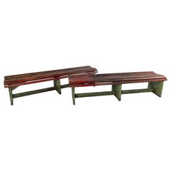 Pair of Slatted Painted Long Benches Sold Individually