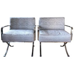 Pair of Sleek Chrome Club Chairs in a Pale Blue and Gray Woven Silk