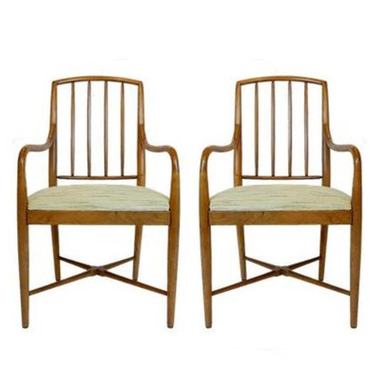 American Pair of Sleek Curved Mid-Century Modern Edward Wormley for Drexel Armchairs For Sale
