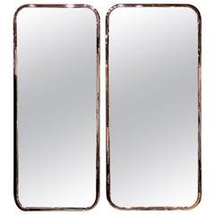 Pair of Sleek Italian 1970s Chrome Mirrors