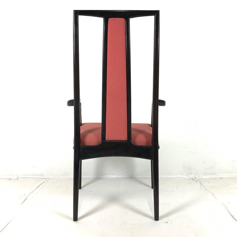 Pair of Sleek Mahogany Parzinger Style Dining / Occasional Chairs by John Stuart For Sale 2