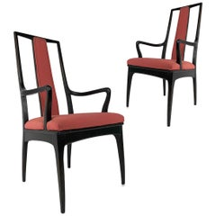 Pair of Sleek Mahogany Parzinger Style Dining / Occasional Chairs by John Stuart