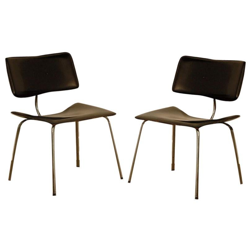 Pair of Slender Italian Stitched Leather Lounge Chairs