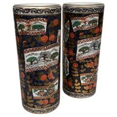 Pair of Slim Imari Vases, 20th Century