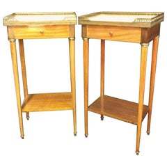 Pair of Slim Lined Marble Brass Wood Nightstand End Tables
