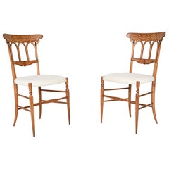Pair of Slim Shaped Chiavari Side Chairs, Italy, 1950