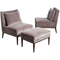 Pair of Slipper Chairs and Ottoman by Paul McCobb