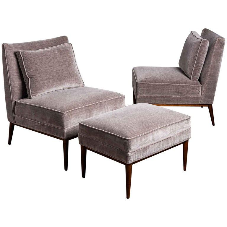 Swell Pair Of Slipper Chairs And Ottoman By Paul Mccobb Short Links Chair Design For Home Short Linksinfo