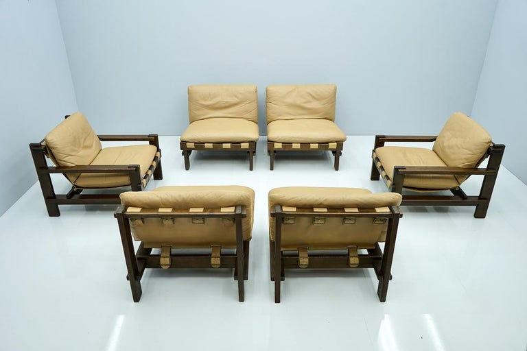 Pair of Slipper Chairs, Carl Straub Denmark 1960s in Oak and Light Brown Leather For Sale 1