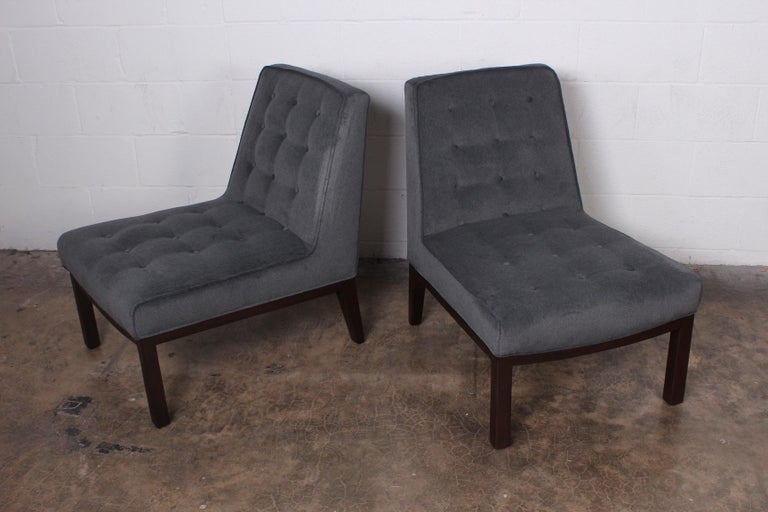 Pair of Slipper Chairs by Edward Wormley for Dunbar For Sale 1