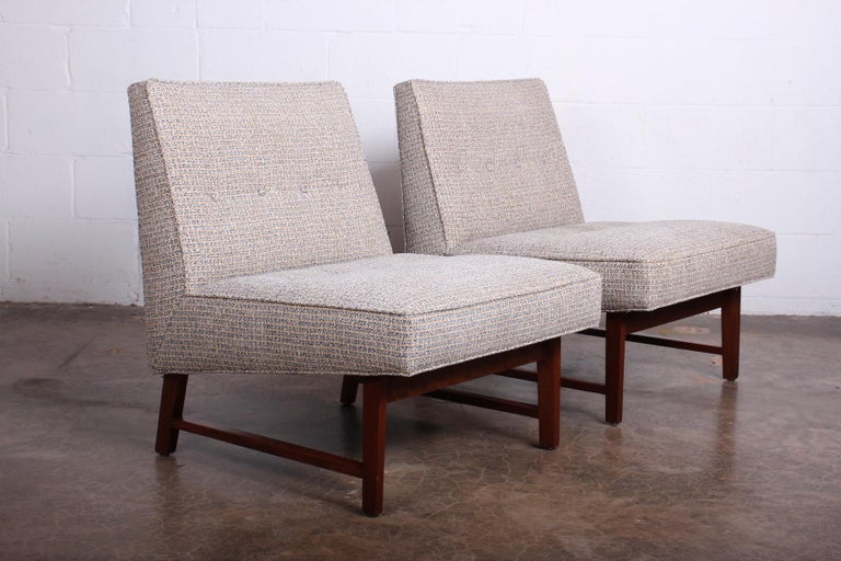Mahogany Pair of Slipper Chairs by Edward Wormley for Dunbar For Sale