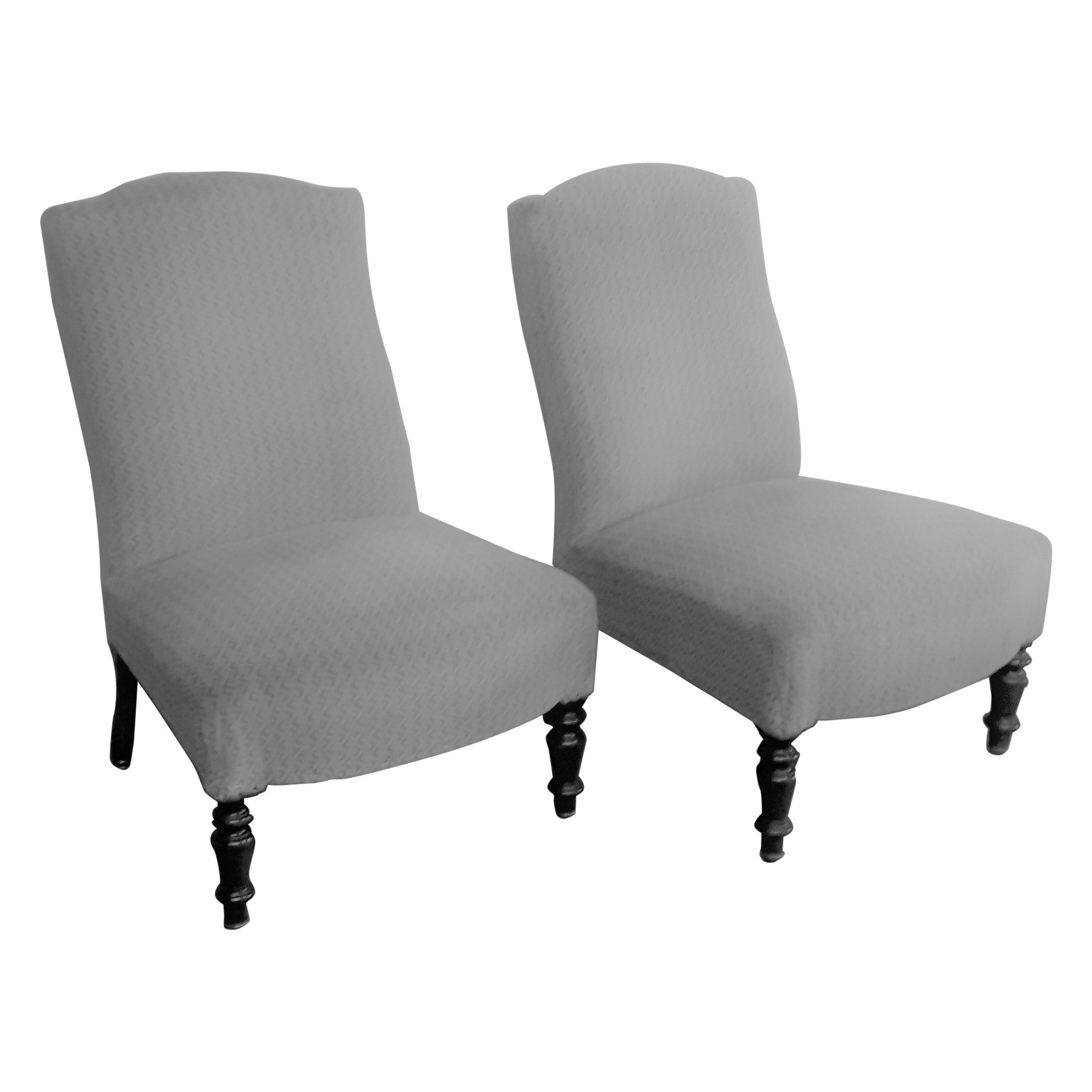Pair of Napoleon III Slipper Side Chairs with Ebonised Legs
