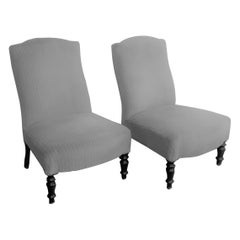 Pair of Slipper Chairs with ebonised legs