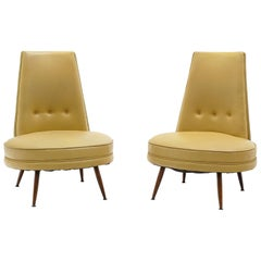Pair of Slipper Chairs, High Back with Wide Round Seat, Armless