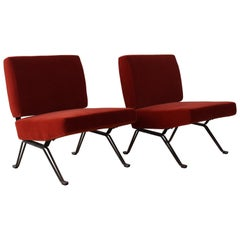 Pair of Slipper Chairs on Iron Bases, Italy, 1950s