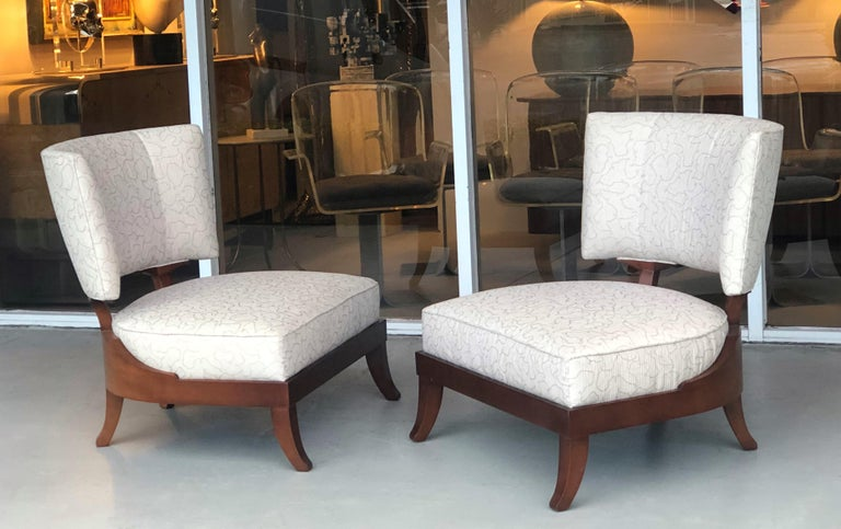 A beautiful pair of vintage chairs by Baker Furniture. Great lines and proportions.