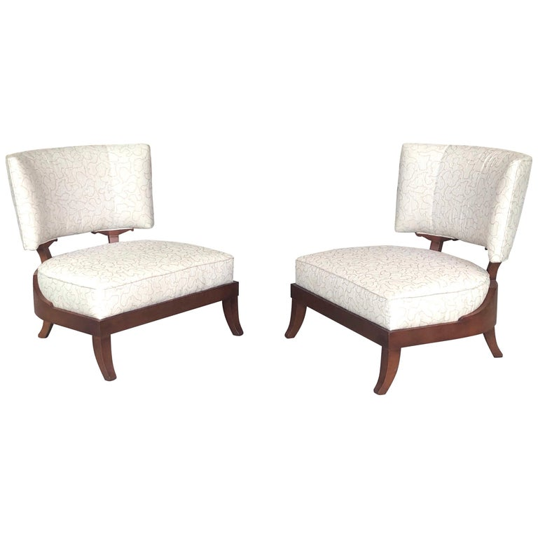 Pair of Slipper Lounge Klismos Chairs by Baker For Sale