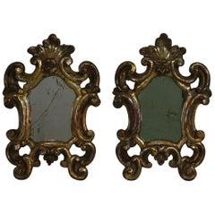 Pair of Small 18th Century, Italian Baroque Giltwood Mirrors