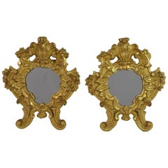 Pair of Small 18th Century, Italian Carved Giltwood Baroque Mirrors
