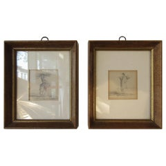Pair of Small 1930s Pencil Drawings of Peasants