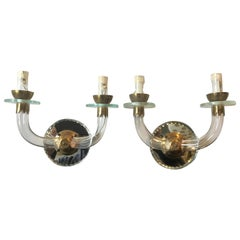 Pair of Small 1940s French Mirrored Back Sconces with Glass Arms