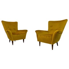 Pair of Small 1950s Midcentury Italian Armchairs in Mustard Velvet