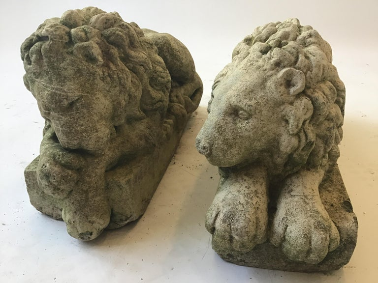 Pair of Small 1960s Concrete Lions For Sale 1