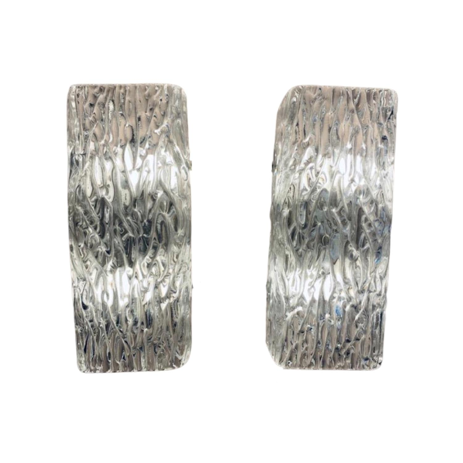 Pair of Small 1960s Kalmar Waved Textured Glass & Metal Wall Lights or Sconces