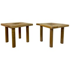 Pair of Small 1970s Beech and Oak Tables or Stools