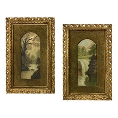 Pair of Small 19th C. Framed Italian River Paintings