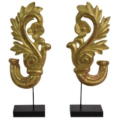 Pair of Small 19th Century French Carved Giltwood Baroque Style Ornaments