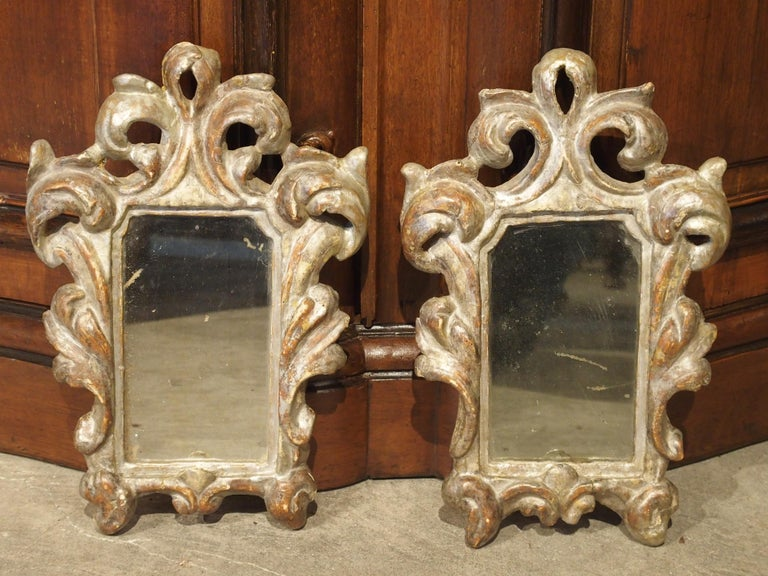 Pair of Small 19th Century Italian Silver Gilt Mirrors For Sale 8