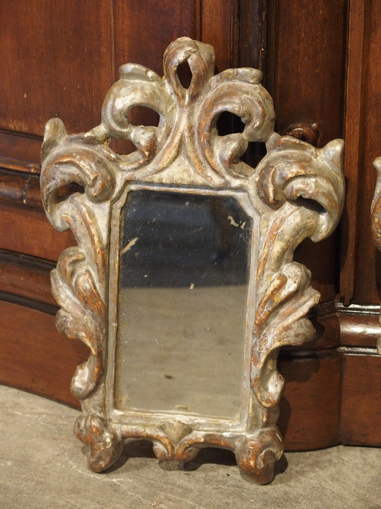 Pair of Small 19th Century Italian Silver Gilt Mirrors In Good Condition For Sale In Dallas, TX
