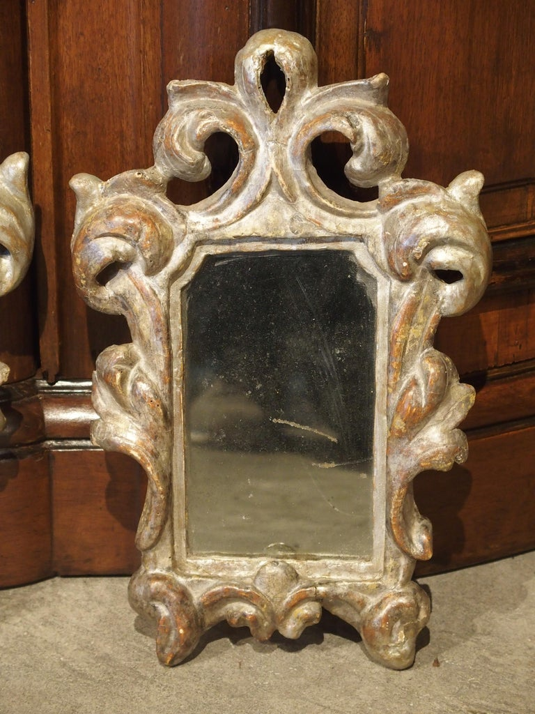 Pair of Small 19th Century Italian Silver Gilt Mirrors For Sale 1