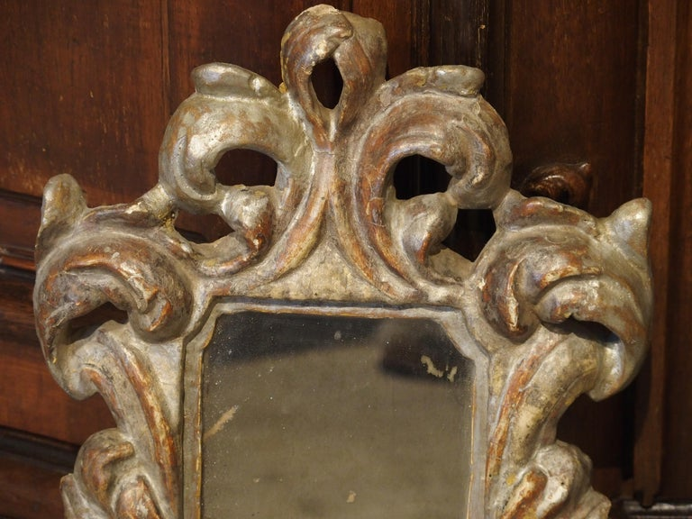 Pair of Small 19th Century Italian Silver Gilt Mirrors For Sale 3