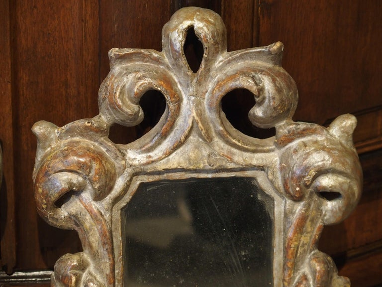 Pair of Small 19th Century Italian Silver Gilt Mirrors For Sale 5