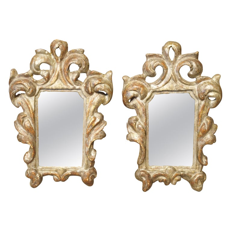 Pair of Small 19th Century Italian Silver Gilt Mirrors For Sale