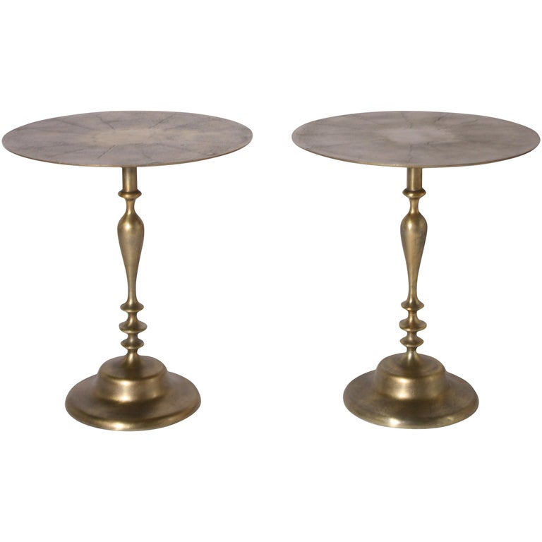 Pair of Small Alberto Pinto Brass Tables Designed for the Ritz, circa 1950 For Sale