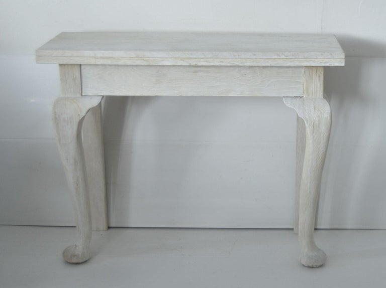 Baroque Pair of Small Antique Bleached Oak Console Tables For Sale