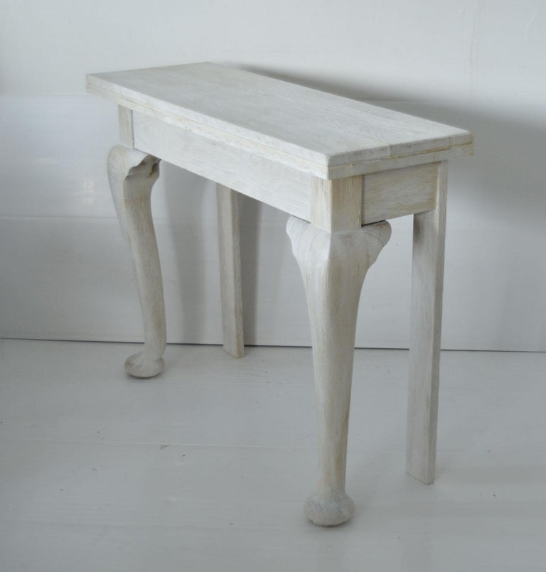 English Pair of Small Antique Bleached Oak Console Tables For Sale