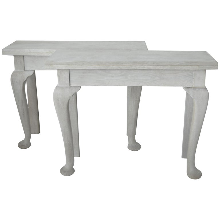 Pair of Small Antique Bleached Oak Console Tables For Sale