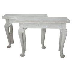 Pair of Small Antique Bleached Oak Console Tables