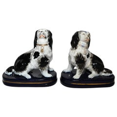 Pair of Small Antique English Victorian Staffordshire Dogs, circa 1880