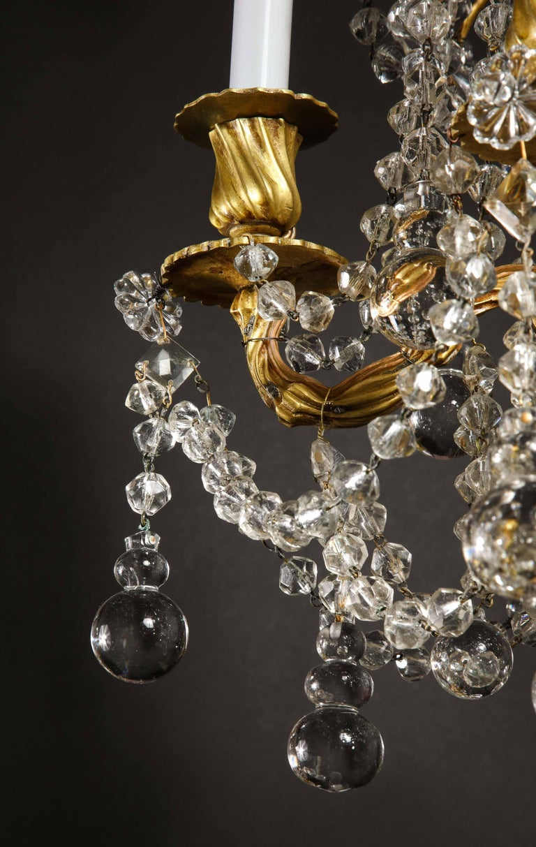 Pair of Small Antique French Louis XVI Gilt Bronze and Crystal Chandeliers For Sale 7