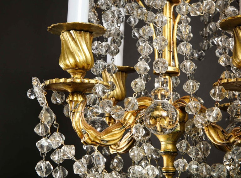 Pair of Small Antique French Louis XVI Gilt Bronze and Crystal Chandeliers For Sale 8