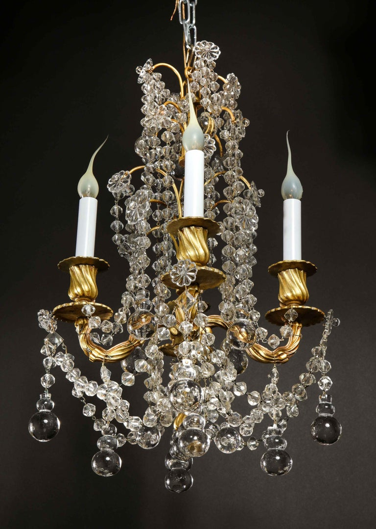 Pair of Small Antique French Louis XVI Gilt Bronze and Crystal Chandeliers For Sale 10