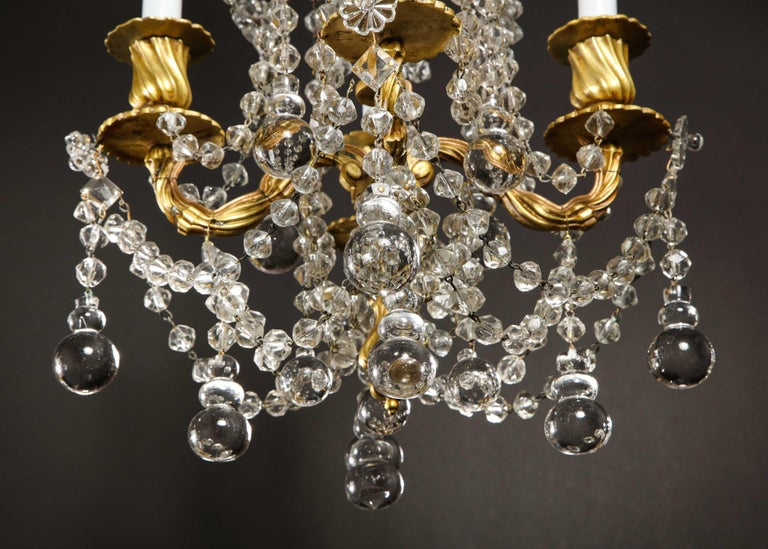 Pair of Small Antique French Louis XVI Gilt Bronze and Crystal Chandeliers For Sale 11