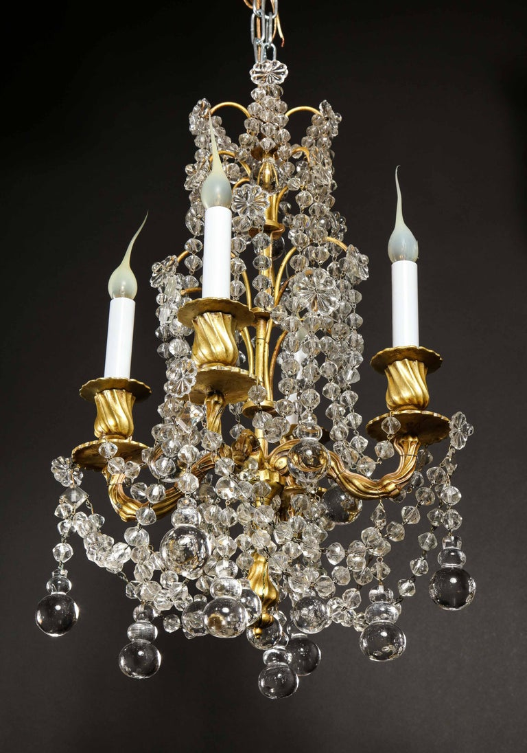 Pair of Small Antique French Louis XVI Gilt Bronze and Crystal Chandeliers For Sale 12