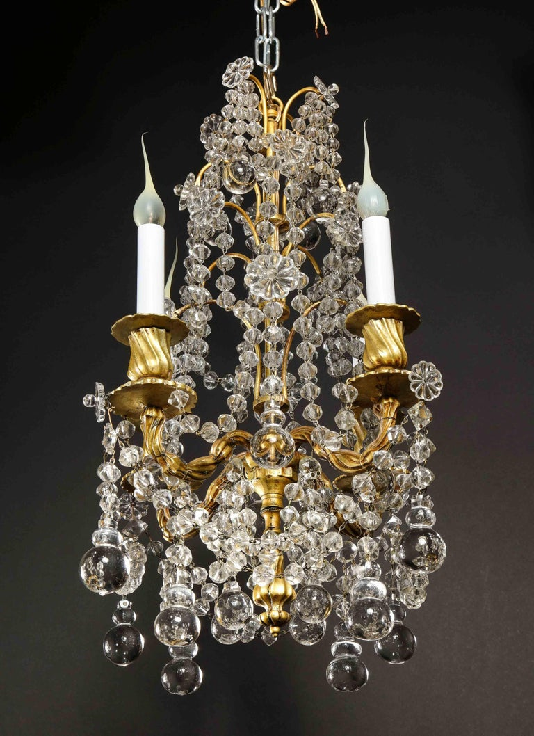 Pair of Small Antique French Louis XVI Gilt Bronze and Crystal Chandeliers For Sale 13