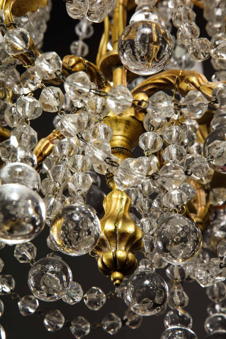 Pair of Small Antique French Louis XVI Gilt Bronze and Crystal Chandeliers For Sale 14